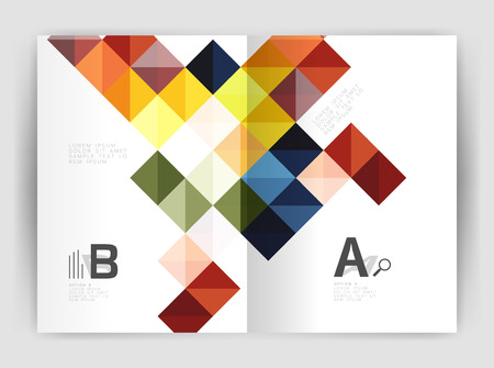 Minimalistic square brochure or leaflet business template, abstract background