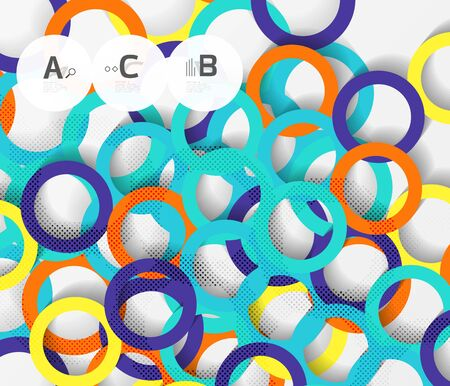 Color rings with shadows on gray abstract background. Vector template background for print workflow layout, diagram, number options or web design banner