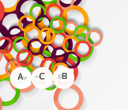 Color rings with shadows on gray abstract background