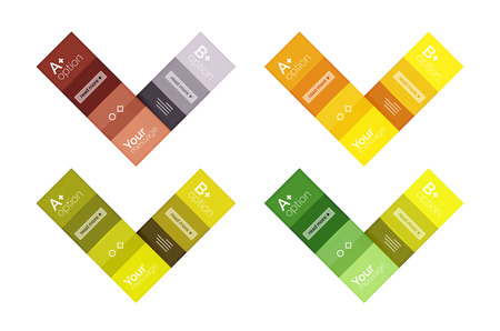 Square and stripes geometric infographic templates