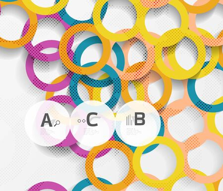 abstract backgrounds: Color rings with shadows on gray abstract background