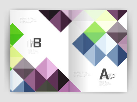 Vector square minimalistic abstract background, print template business brochure a4. Vector template background for print workflow layout, diagram, number options or web design banner Illustration