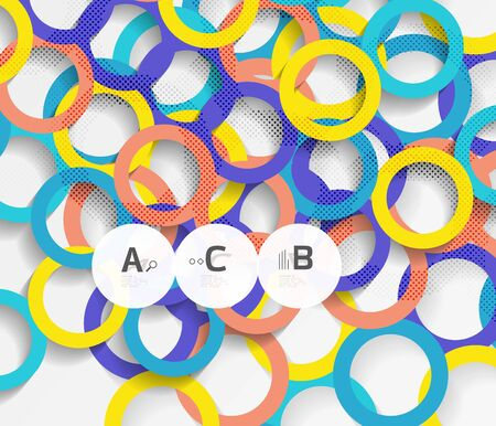 Geometrical circles on white with shadows. Abstract background