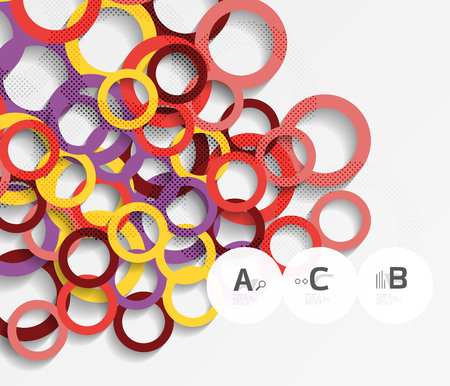 3d rings on grey. Geometrical modern abstract background. Vector template background for print workflow layout, diagram, number options or web design banner Illustration