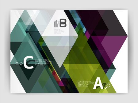 construction firm: Abstract background with color triangles, annual report print backdrop