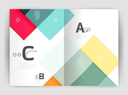 Business a4 business brochure geometrical template. Vector design for workflow layout, diagram, number options or web design