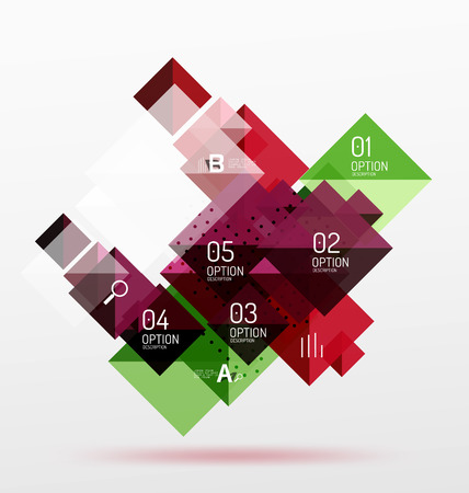 Repetition of overlapping color squares, geometric modern background