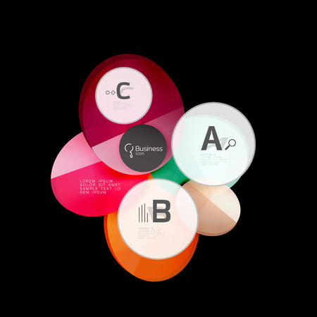Glass color circles - infographic elements on black, abstract background