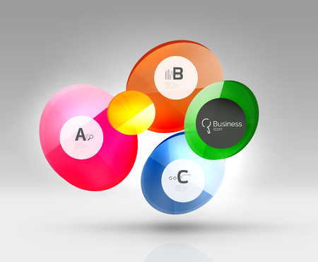 Glass circles banner in 3d space