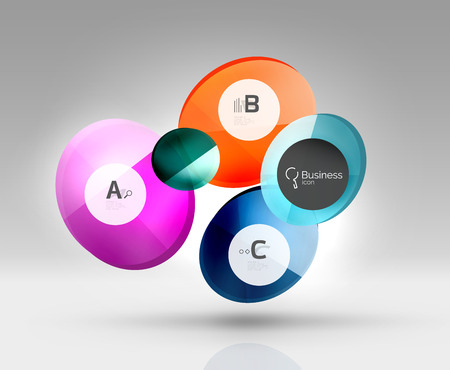 glas 3d: Glass circle infographics. Vector template background for print workflow layout, diagram, number options or web design banner