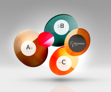 Glass circle infographics. Vector template background for print workflow layout, diagram, number options or web design banner