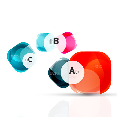 crystal button: Glass glossy abstract stones with text. Abstract template Illustration