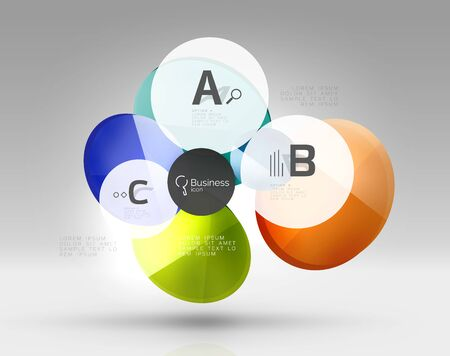 Shiny circles with text in 3d space Illustration