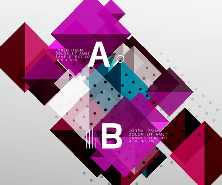 Modern square composition, abstract banner. Vector template background for workflow layout, diagram, number options or web design