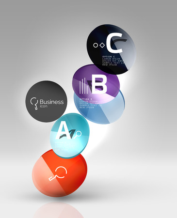 ball point: Shiny circles with text in 3d space, vector abstract background Illustration