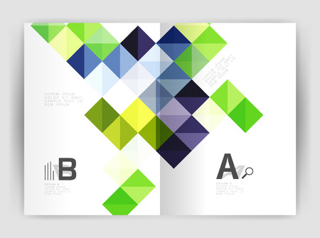 green issue: Vector square minimalistic abstract background, print template business brochure a4