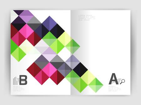 Square annual report brochure a4 print template Illustration