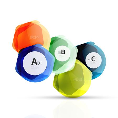Shiny style modern geometrical hexagons web boxes Illustration