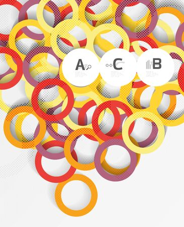 3d rings on grey. Geometrical modern abstract background Illustration