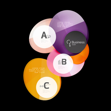 Glossy glass circle banner design template Illustration
