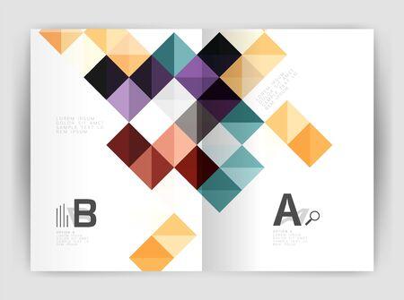 Modern minimalistic geometrical square business leaflet template