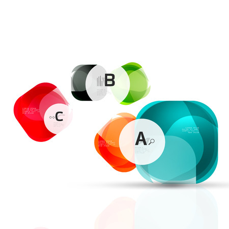 crystal button: Glass glossy abstract stones with text. Vector template background for print workflow layout, diagram, number options or web design banner