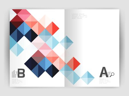 Square annual report brochure a4 print template with sample option text infographics