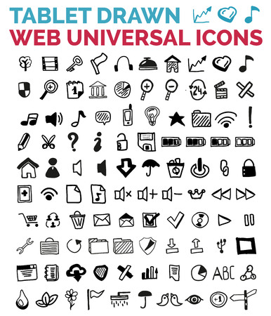 Mega collection of hand drawn web icons