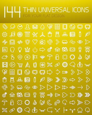 Mega collection of 144 thin line flat design internet icons Illustration