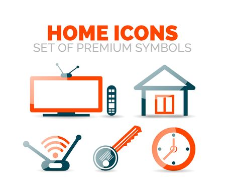 Set of home equipment and elements icons Illustration