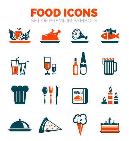ice tea: Set of vector food icons - fruits, meat, fish, beverages and other ideas