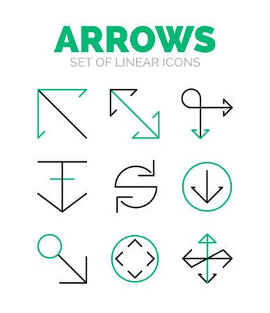 reverse: Set of arrow icons, flat minimal linear thin style