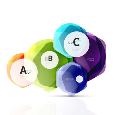 Glanzende zeshoeken met infographics opties Stock Illustratie