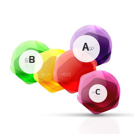 Shiny style modern geometrical hexagons web boxes Ilustração