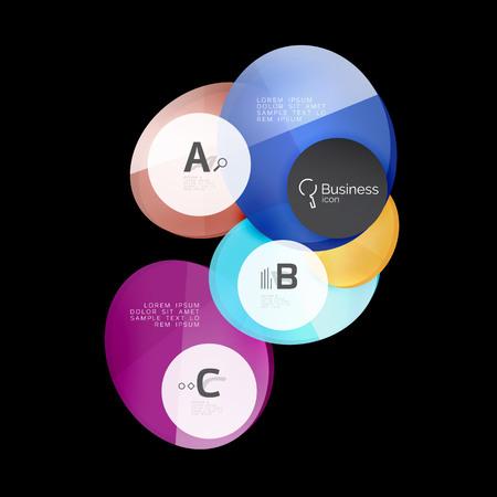 Vector glossy glass circles speech bubble on black