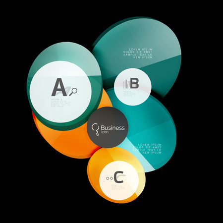 Glass color circles - infographic elements on black Illustration