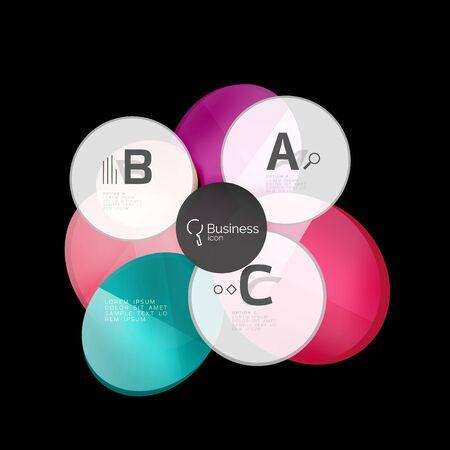 translucent: Glossy glass circle banner design template Illustration