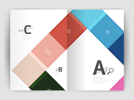 notebook cover: Set of front and back a4 size pages, business annual report design templates