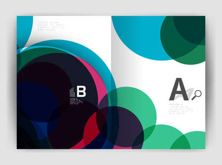 notebook cover: Abstract circles, annual report cover. Modern business brochure template. Business flyer abstract background
