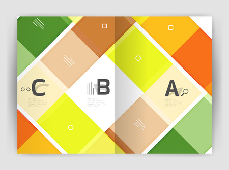 Vector modern geometrical a4 flyer brochure template, annual report print template with infographics abc options. Illustration