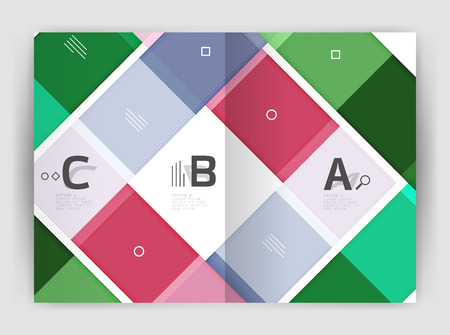 notebook cover: Set of front and back a4 size pages, business annual report design templates. Illustration