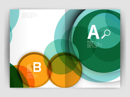 notebook cover: Abstract circles, annual report covers, modern business brochure templates.