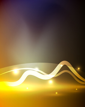 glitz: Glowing magic wave line with light effects in darkness. Vector illustration