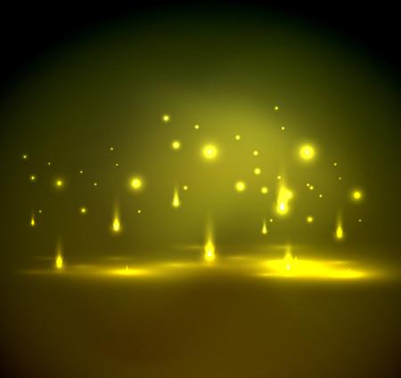 Falling Lichter in Dunkelheit, magischen Vektor abstrakten Hintergrund