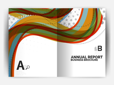 Business report cover template wave