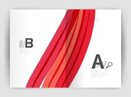 white wave: Business brochure flyer template, wave and line abstract background. Colorful curvy and wavy stripes on print template with sample text