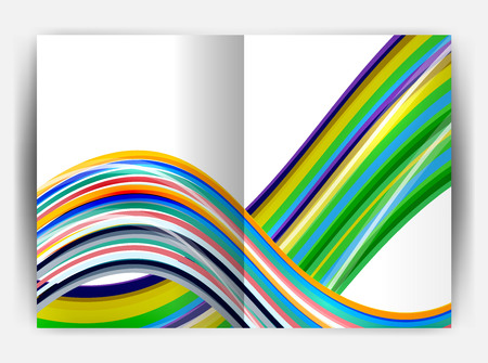 white wave: Business report cover template wave, curvy line abstract background with copyspace