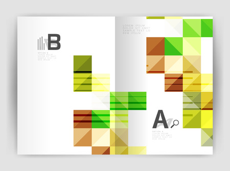 page layout: Vector square template background with infographics