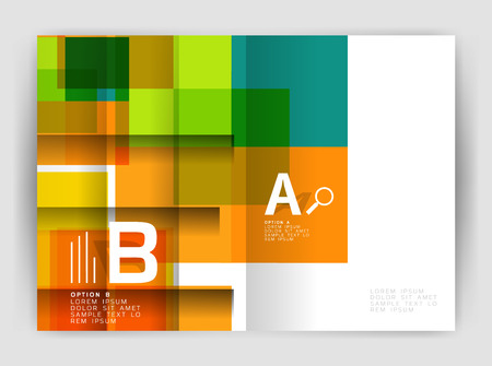 page layout: Square design corporate business flyer Illustration