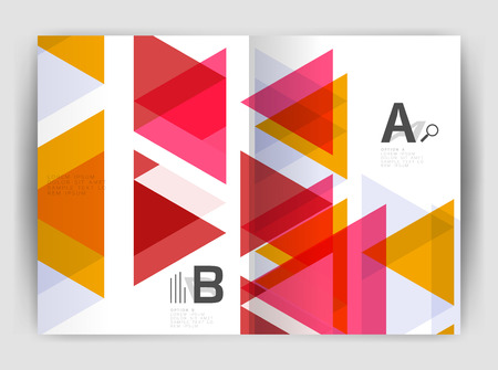 page layout: Vector triangle business annual report cover print template